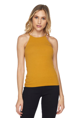 High neck Ribbed Tank Top