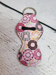 Lip Balm Holder Key Chain -  Pink Donuts