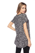 Black Animal Print Rounded Hem Tunic Top  - Plus