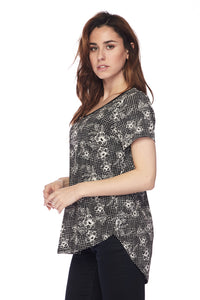 Abstract Flowers Printed V-Neck HI-LO Top - Plus