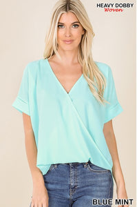 Dobby Layered Look Draped Front Top- Blue Mint