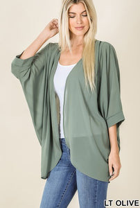 Woven Chiffon Cardi with Shoulder Pleat - Light Olive