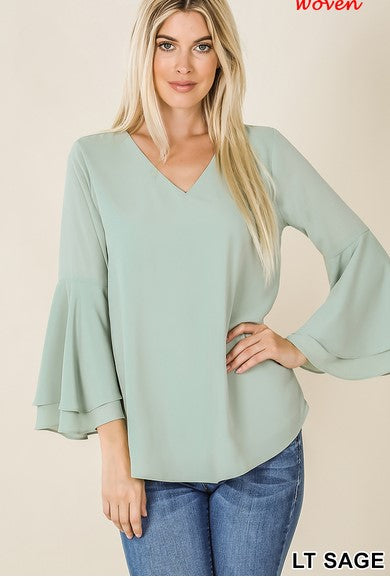 Dobby Double Layer Bell Sleeve Top - Light Sage