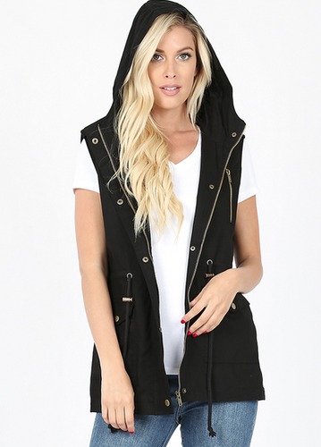 Military Hoodie Vest with Pockets - Black