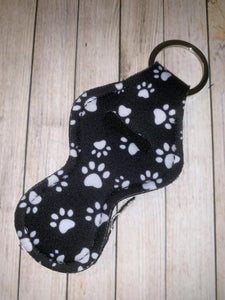 Lip Balm Holder Key Chain - Black Paw Print