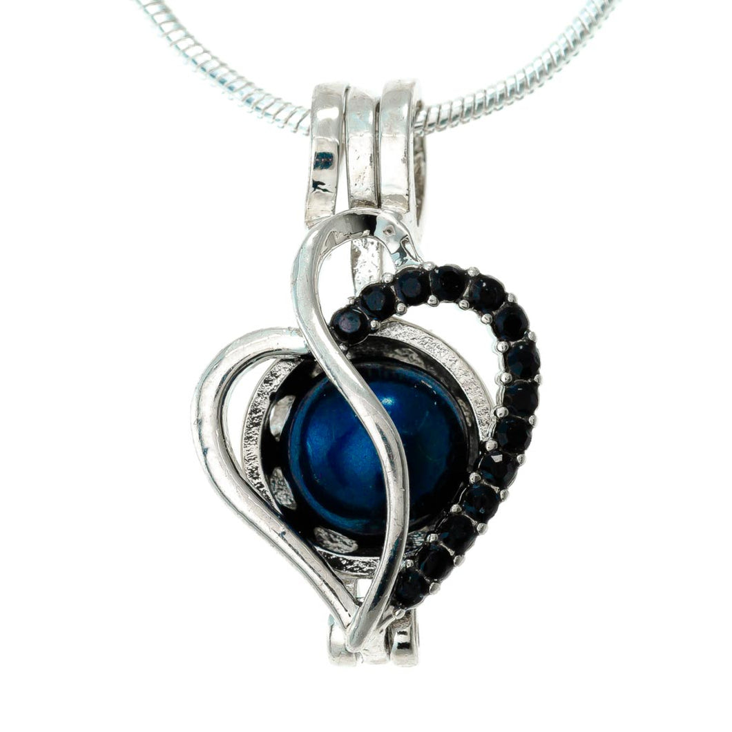 Heart with Black Rhinestones Plated Locket
