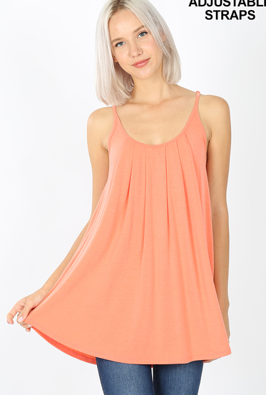 Pleated Spaghetti Cami
