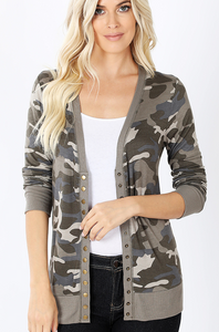 Dusty Camo Print Snap Button Cardigan