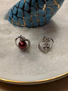 Heart Stud Mounted Earrings