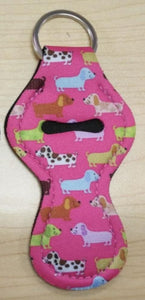 Lip Balm Holder Key Chain - Pink Dog