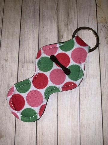 Lip Balm Holder Key Chain - Red and Green Poka Dot