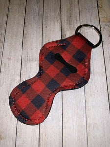 Lip Balm Holder Key Chain - Red Buffalo Plaid