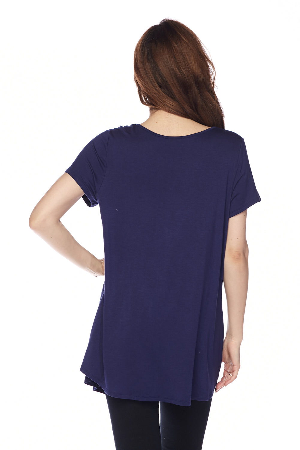 Solid V Neck Criss Cross Tunic Top Plus Size
