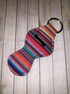 Lip Balm Holder Key Chain - Serape Stripe