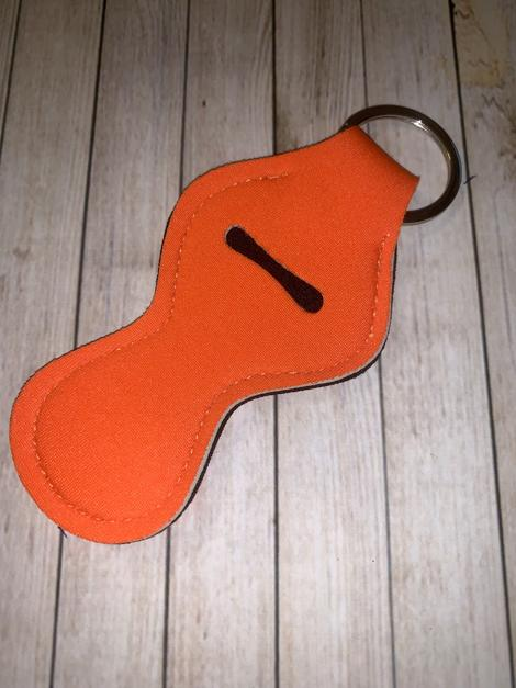 Lip Balm Holder Key Chain - Solid Orange