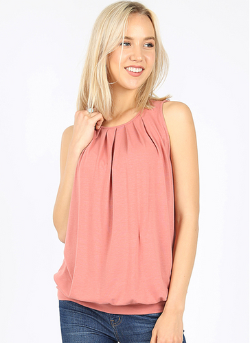 Pleated Tank with Waistband