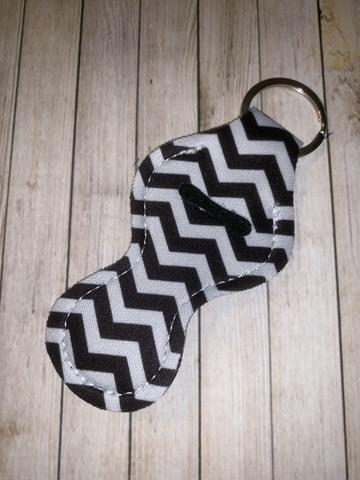 Lip Balm Holder Key Chain - Black Chevron