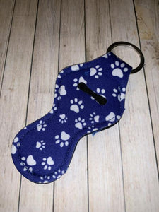 Lip Balm Holder Key Chain - Blue Paw Print