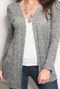 Ribbed Open Heather Grey Sweater
