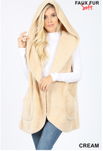 Hooded Faux Fur Cocoon Vest with Pockets - Cream