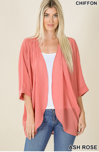 Woven Chiffon Cardi with Shoulder Pleat - Ash Rose