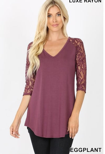 Lace 3/4 Sleeve V Neck Top