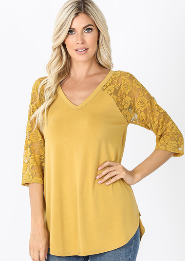 Lace Detail 3/4 Sleeve V-Neck Top Light Mustard