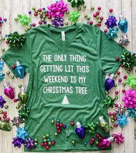 Lit Christmas Tree V-Neck Tee
