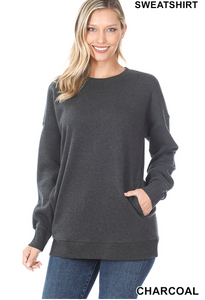 Long Sleeve Round Neck Sweatshirt with Pockets