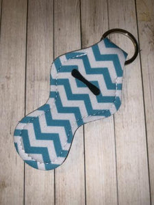 Lip Balm Holder Key Chain - Teal Chevron