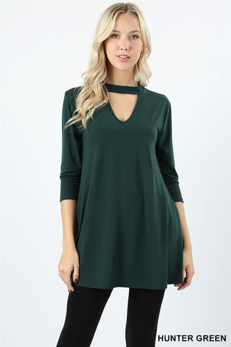 Hunter Green Choker Neck 3/4 Sleeve Top