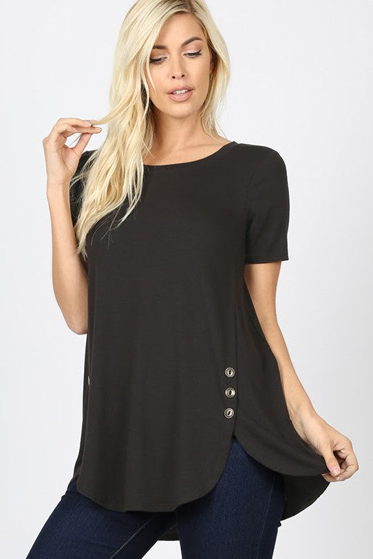 Black Bottom Dolphin Hem Top