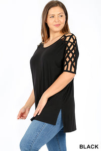 Black Criss Cross Shoulder Hi-Low Top