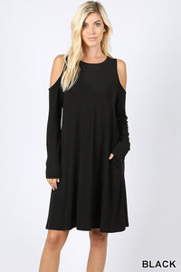 Black Cold Shoulder Dress With Pockets
