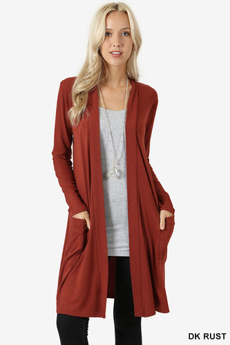 Slouchy Pocket Open Cardigan - Dark Rust