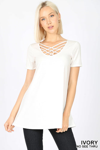 Ivory Short Sleeve Triple Lattice Top
