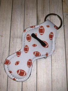 Lip Balm Holder Key Chain - White Football