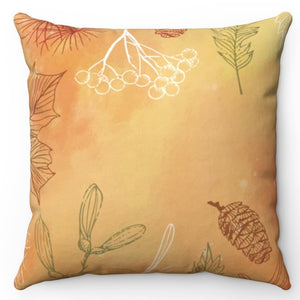 "Hand Drawn Fall Leaves 18"" x 18"" Throw Pillow"
