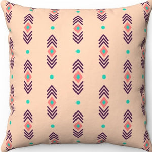 "Pastel Abstract Peachy Boho Pattern 16"" 18"" Or 20"" Square Throw Pillow Cover"
