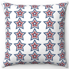 "Load image into Gallery viewer, Patriotic Red White & Blue Starburst 16"" 18"" Or 20"" Square Throw Pillow Cover"