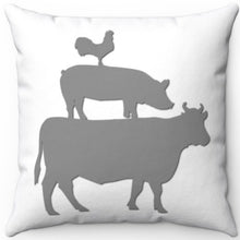 "Load image into Gallery viewer, Farm Animal Stack Grey On White 18"" x 18"" Square Throw Pillow"