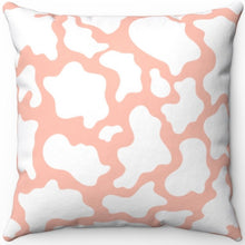 "Load image into Gallery viewer, Pink And White Cow Print 16"" 18"" Or 20"" Square Throw Pillow Cover"