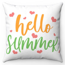 "Load image into Gallery viewer, Hello Summer Pink Hearts 18"" x 18"" Throw Pillow Cover"
