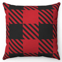 "Load image into Gallery viewer, Black On Red Buffalo Plaid 18"" Or 20"" Square Throw Pillow Cover"