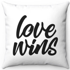 "Love Wins Black & White 18"" x 18"" Throw Pillow Cover"