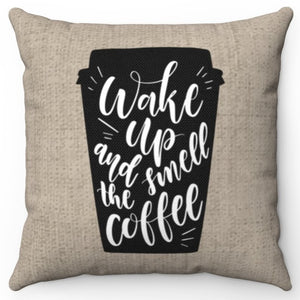 "Wake Up & Smell The Coffee Burlap 18"" Or 20"" Square Throw Pillow Cover"