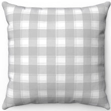 "Load image into Gallery viewer, Pretty Light Grey & White Plaid 16"" 18"" Or 20"" Square Throw Pillow Cover"