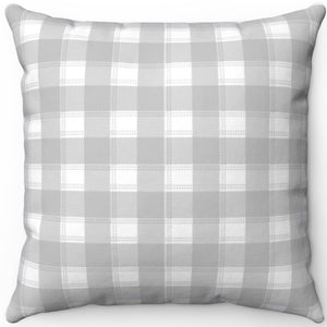 "Pretty Light Grey & White Plaid 16"" 18"" Or 20"" Square Throw Pillow Cover"