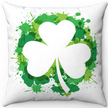 "Load image into Gallery viewer, St. Patty's Green Shamrock Splash 16"" Or 18"" Square Throw Pillow"