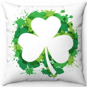 "St. Patty's Green Shamrock Splash 16"" Or 18"" Square Throw Pillow"